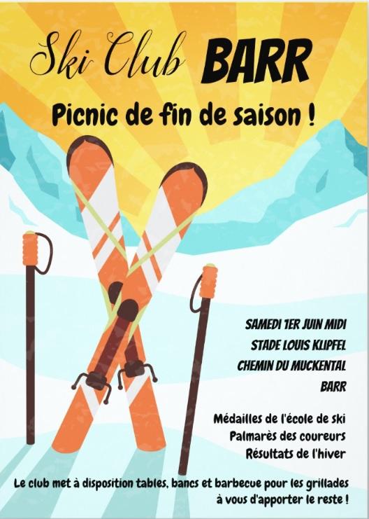 Picnic de fin de saison le 1er juin 2019 @ STADE LOUIS KLIPFEL | Barr | Grand Est | France