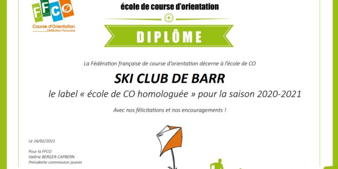 LABELLISATION DE L'ÉCOLE D'ORIENTATION DU SC BARR